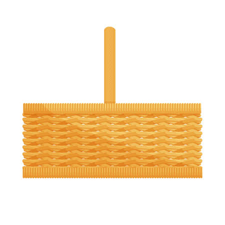 wicker: Empty wicker basket with handles isolated on white cartoon icon vector illustration Illustration