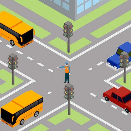 Controlador de tránsito de tráfico por carretera. Control de transporte en la calle, pointsman poli, ilustración vectorial