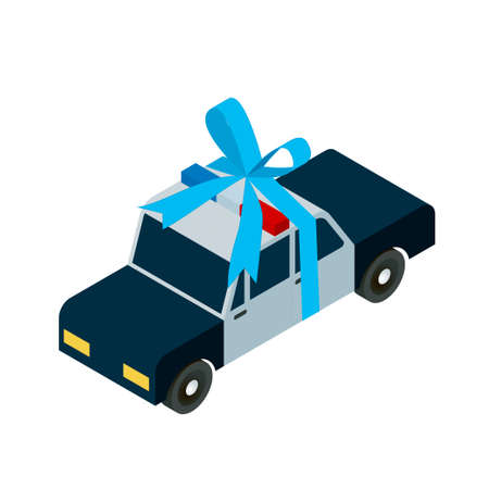 highway patrol: police car toy icon with ribbon, isometric vector illustration