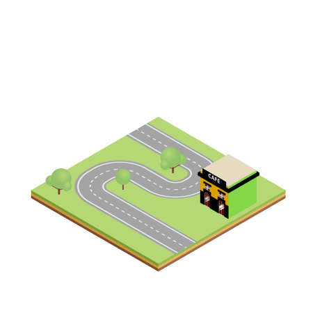 country road: Isometric country road with cafe vector illustration. Game tile