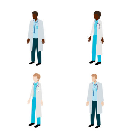 voluntary: Isometric doctor character set. Vector illustration of therapists Illustration
