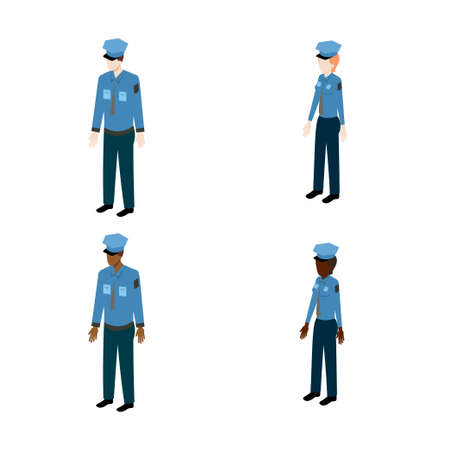 policewoman: Set of isometric policemen. International policemen and policewoman vector illustration