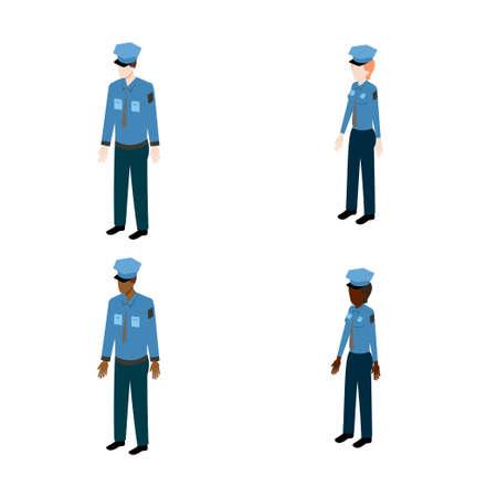patrolman: Set of isometric policemen. International policemen and policewoman vector illustration