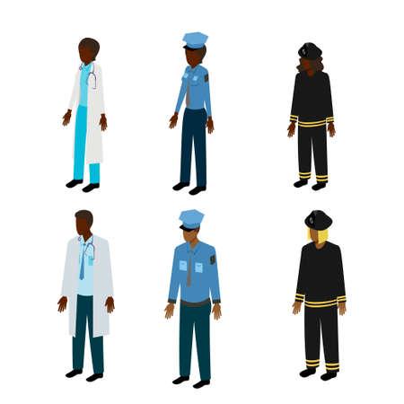 patrolman: Set of isometric rescuers. Black doctor, fireman and policeman vector illustration