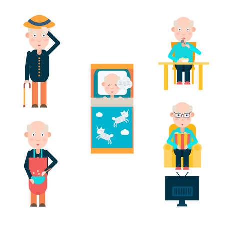 ver tv: La vida de un hombre en el retiro, coma el sueño y ver la televisión, ilustración vectorial