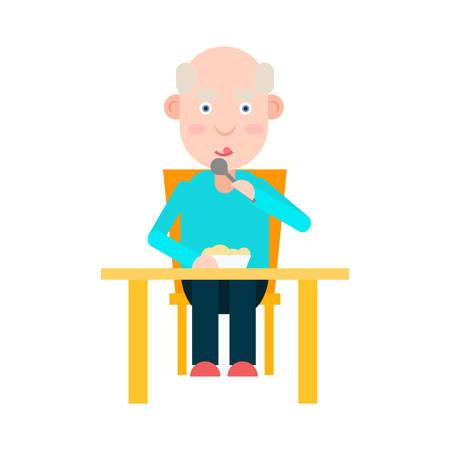 eating lunch: Elderly man eat at the table, lunch for person elderly, senior man dinner, vector illustration