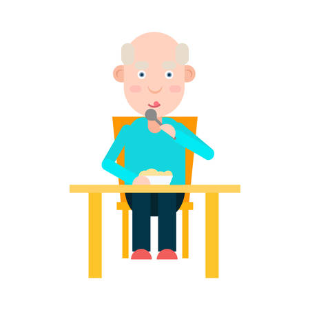 Elderly man eat at the table, lunch for person elderly, senior man dinner, vector illustration