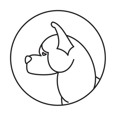 akita: Linear emblem with dog akita. Animal puppy in round, vector illustration Illustration