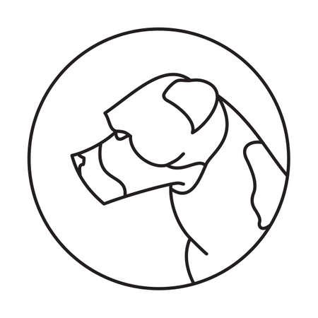 pedigree: Line head dog american staffordshire terrier. Friendly pedigree pet. Vector illustration
