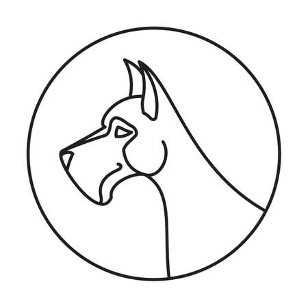 dane: Linear emblem with dog great dane. Creature linear pedigree animal. Vector illustration