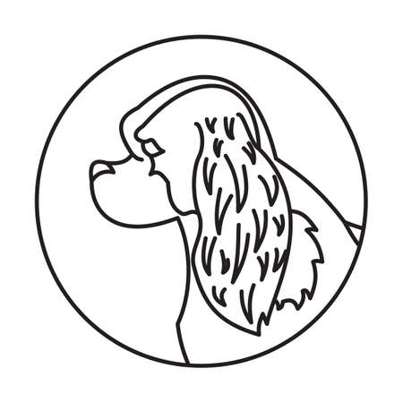 charles: Linear emblem with dog cavalier charles king spaniel. Vector illustration
