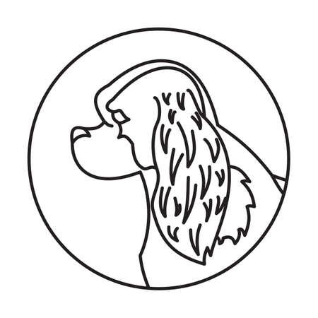 Linear emblem with dog cavalier charles king spaniel. Vector illustration