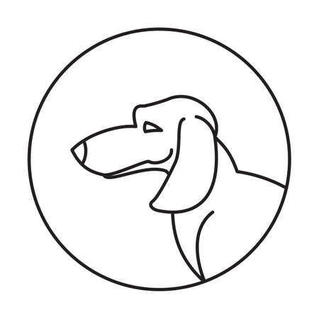 snout: Dog head dachshund in a linear style. Snout animal in round, vector illustration