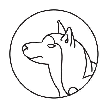 pedigreed: Dog head siberian husky in a linear style. Pedigreed friend picture, vector illustration Illustration