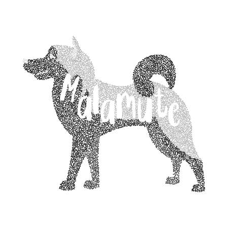 alaskan malamute: Form of round particles alaskan malamute dog. Pet animal purebred, husky vector illustration Illustration