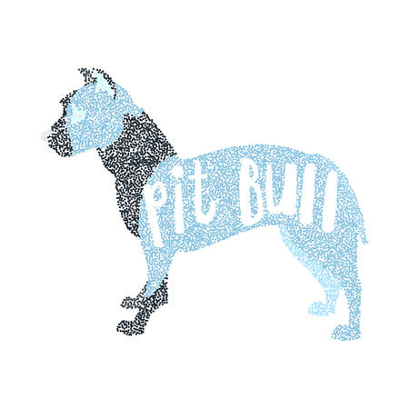 pit: Form of round particles american pit bull terrier breed. Pet young doggy, vector illustration