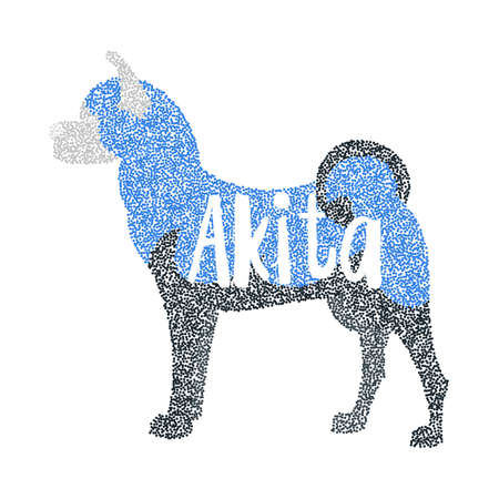 akita: Form of round particles akita breed dog. Hound animal and portrait dog