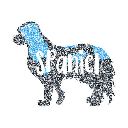 Form of round particles cavalier king charles spaniel. Beauty dog and domestic friendly hound, vector illustration