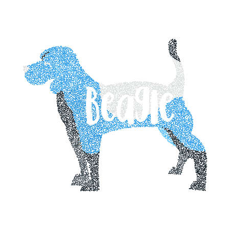 beagle puppy: Form of round particles beagle dog isolated. Adorable animal and young puppy, vector illustration