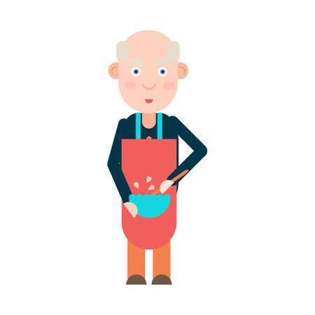 grandad: Grandpa pensioner prepares food isolated on white background, vector illustration