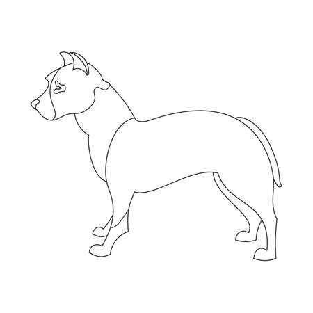 obedience: American pitt bull terrier. Obedience doggy in linear style. Vector illustration