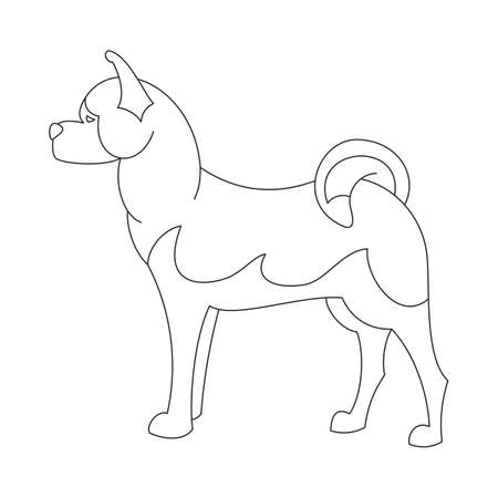 obedience: Akita dog line. Obedience hound in linear style,  illustration