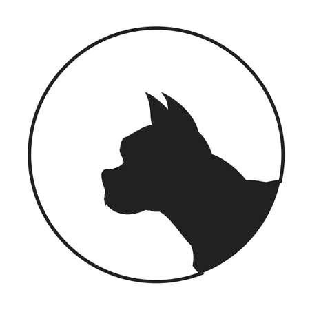 pedigree: Silhouette of a dog head french bulldog. Pet pedigree monochrome.  illustration Illustration