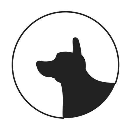 pedigree: Silhouette of a dog head corgi pembroke welsh. Pedigree friend icon.  illustration Illustration