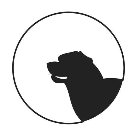 pedigree: Silhouette of a dog head rottweiler. Friendly pedigree doggy. Vector illustration