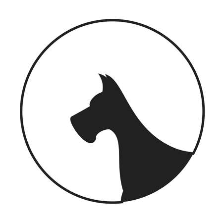 pedigreed: Silhouette of a dog head great dane. Animal pedigreed companion, vector illustration