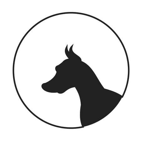 pedigree: Silhouette of a dog head doberman pinscher. Portrait pedigree doggy, vector illustration
