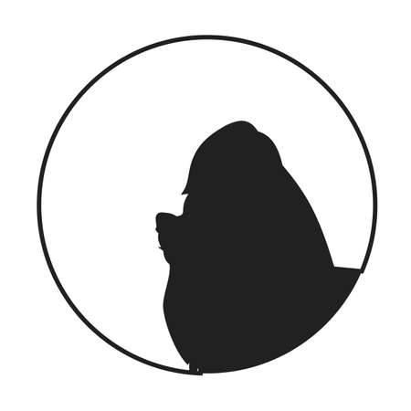 yorkshire terrier: Silhouette of a dog head yorkshire terrier. Pet young companion,  illustration Illustration