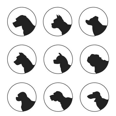 akita: Set of silhouette dogs heads. Akita and  dachshund and english mastiff,