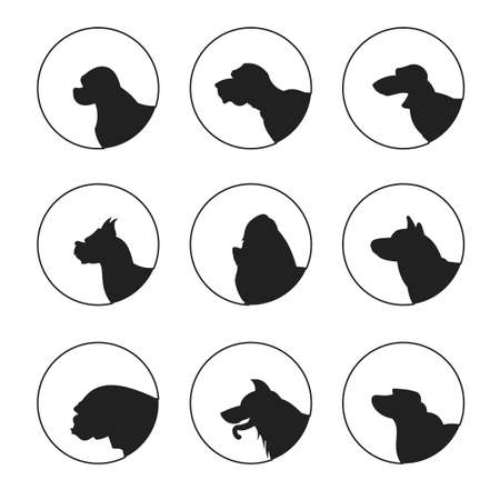 Set of silhouette dogs heads. Boxer and dachshund and labrador.