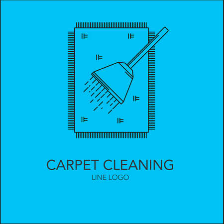 carpet cleaning service design: line carpet cleaning concept. vector illustration of wet cleaning. Illustration