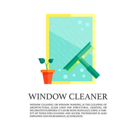 Flat window cleaner concept.  illustration of window cleaning with squeegee