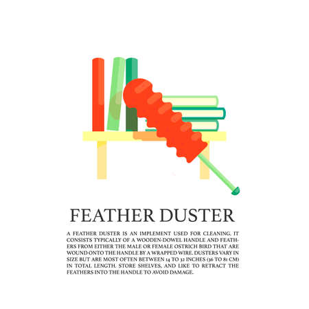wiping: Feather duster  concept. Illustration of sweeping on the shelf