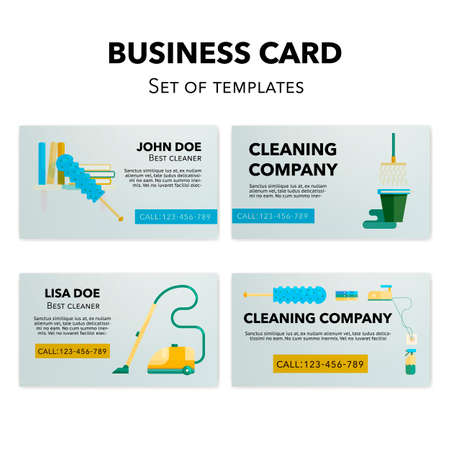 Cleaning business cards templates set flat cleaning appliances cleaning business cards templates set flat cleaning appliances concepts illustration stock vector 68695316 accmission Images