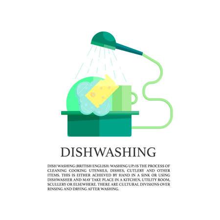 unwashed: flat dish washing  icon. wash-up concept.