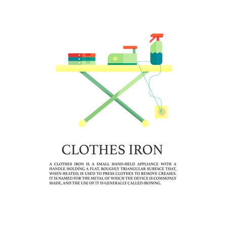 steam iron: Iron and clothes on ironing board, flat design. Concept illustration of ironing process
