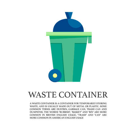 flat outdoor trash can  illustration. garbage collection concept. Waste container icon.