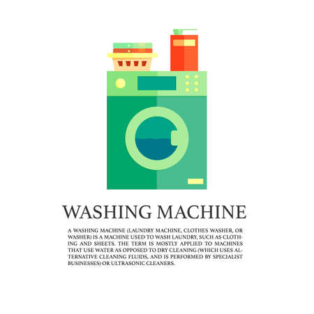 washing powder: Laundry service advertising poster, with washing machine, washing powder and clothes