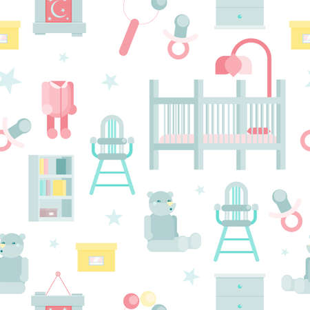 flat baby room pattern vector illustration with cot, high chair and books shelfs Ilustracja