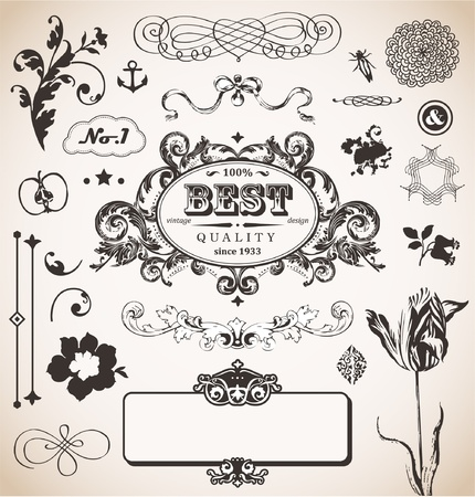 set in vintage style for You Vector