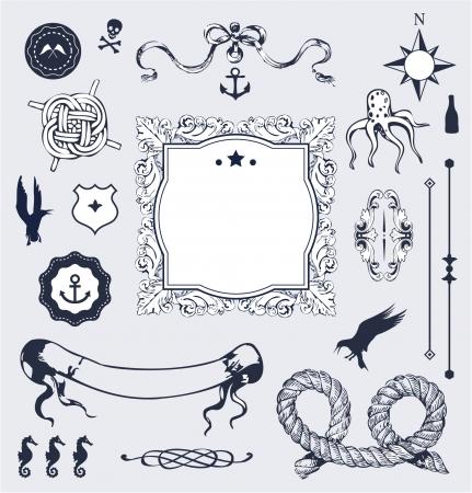 Nautische set met elementen voor uw ontwerp