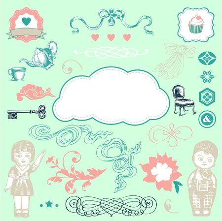 Lovely romantic elements  Illustration