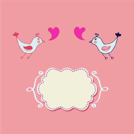 Stylish hand drawn with birds couple in love Illustration