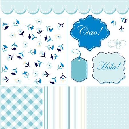 ビンテージ青パターン、フレームおよびかわいいシームレスな背景  イラスト・ベクター素材