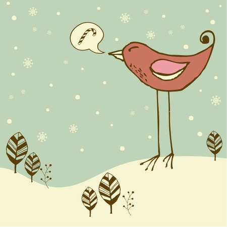 Retro christmas card with  bird Vector