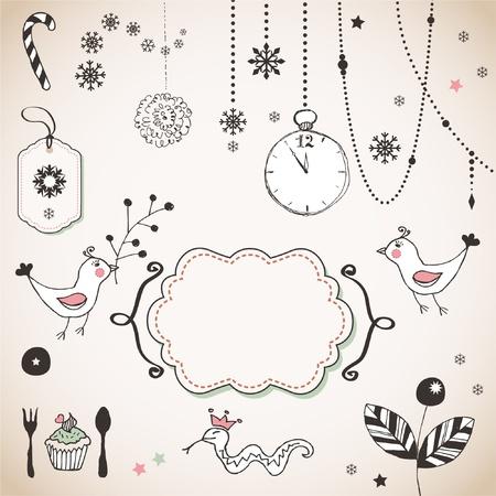 snake year: Dibujado a mano adornos de Navidad